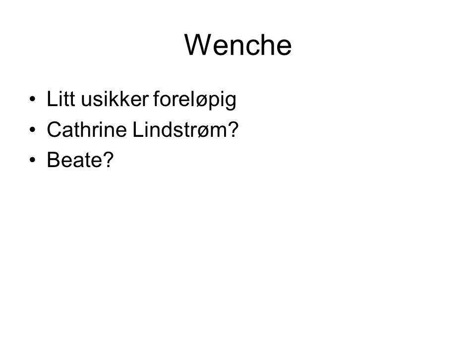 Wenche Litt usikker foreløpig Cathrine Lindstrøm? Beate?