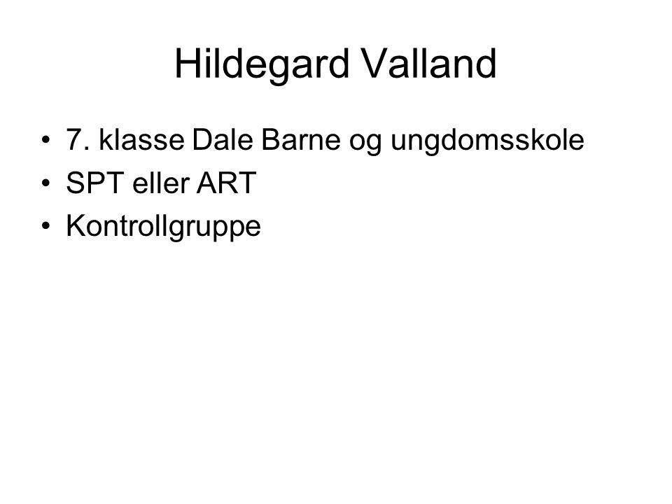 Hildegard Valland 7. klasse Dale Barne og ungdomsskole SPT eller ART Kontrollgruppe