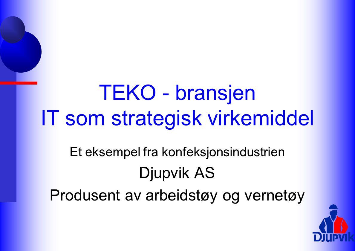 TEKO - bransjen IT som strategisk virkemiddel Et eksempel fra konfeksjonsindustrien Djupvik AS Produsent av arbeidstøy og vernetøy