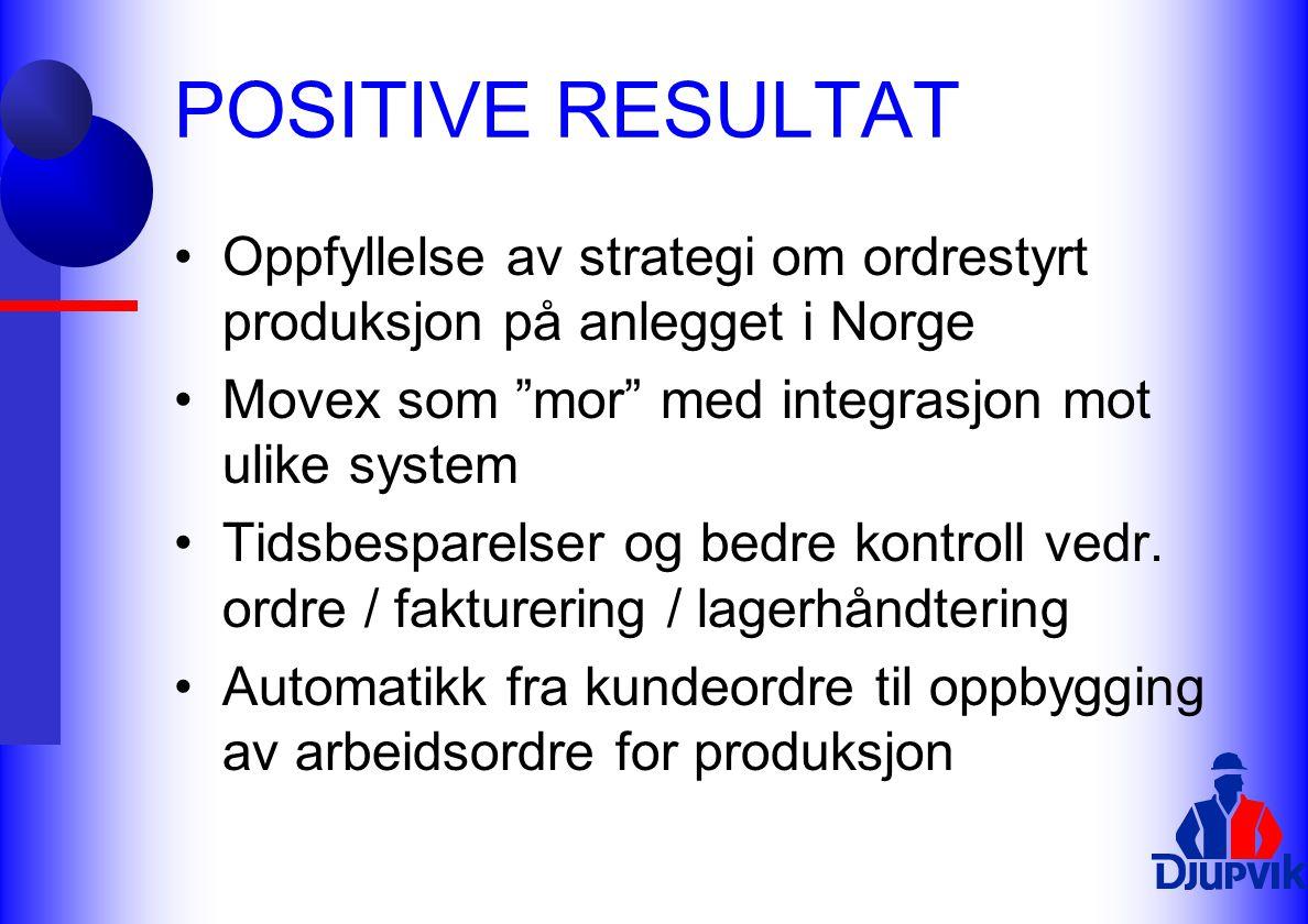 """POSITIVE RESULTAT Oppfyllelse av strategi om ordrestyrt produksjon på anlegget i Norge Movex som """"mor"""" med integrasjon mot ulike system Tidsbesparelse"""