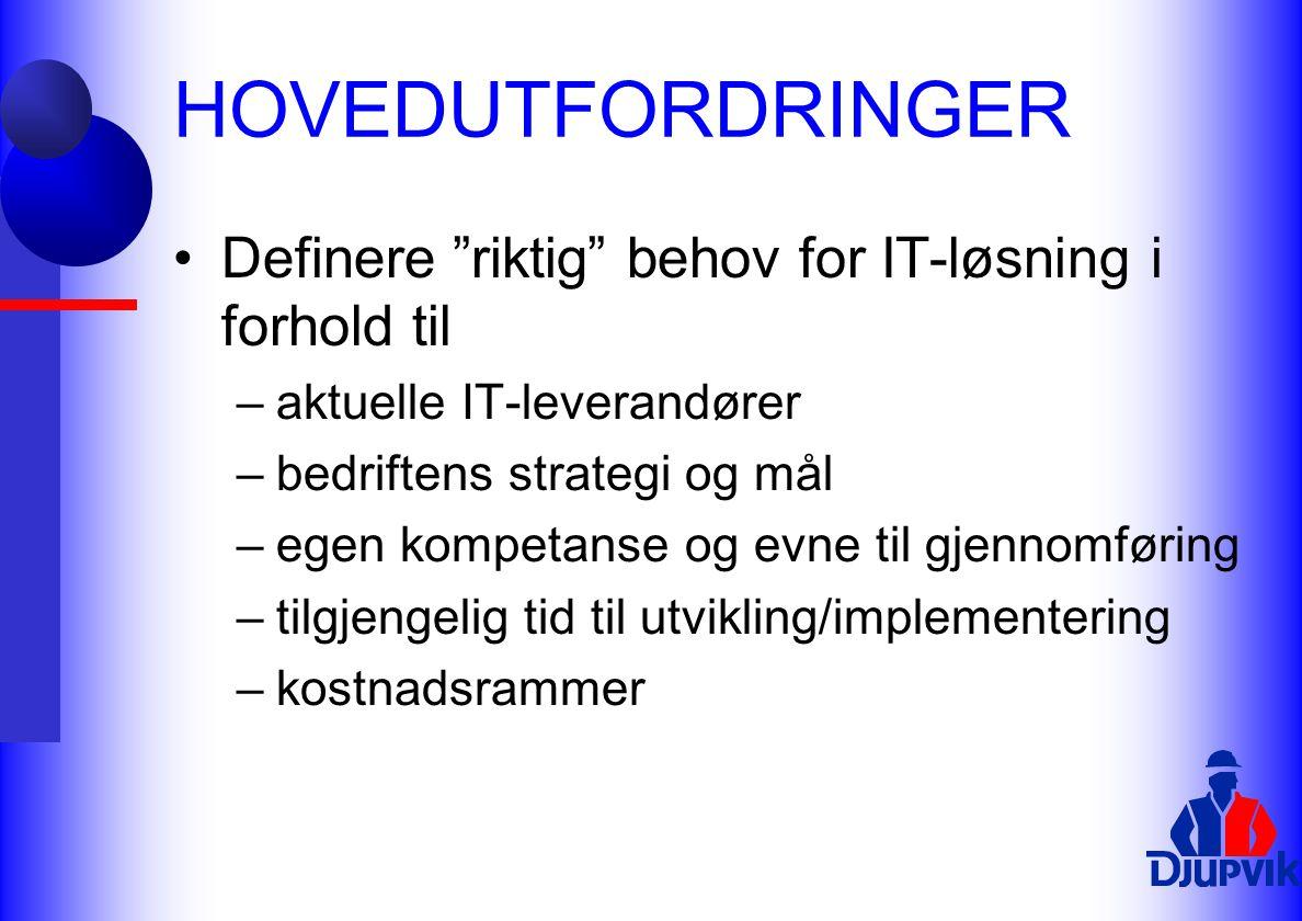 """HOVEDUTFORDRINGER Definere """"riktig"""" behov for IT-løsning i forhold til –aktuelle IT-leverandører –bedriftens strategi og mål –egen kompetanse og evne"""