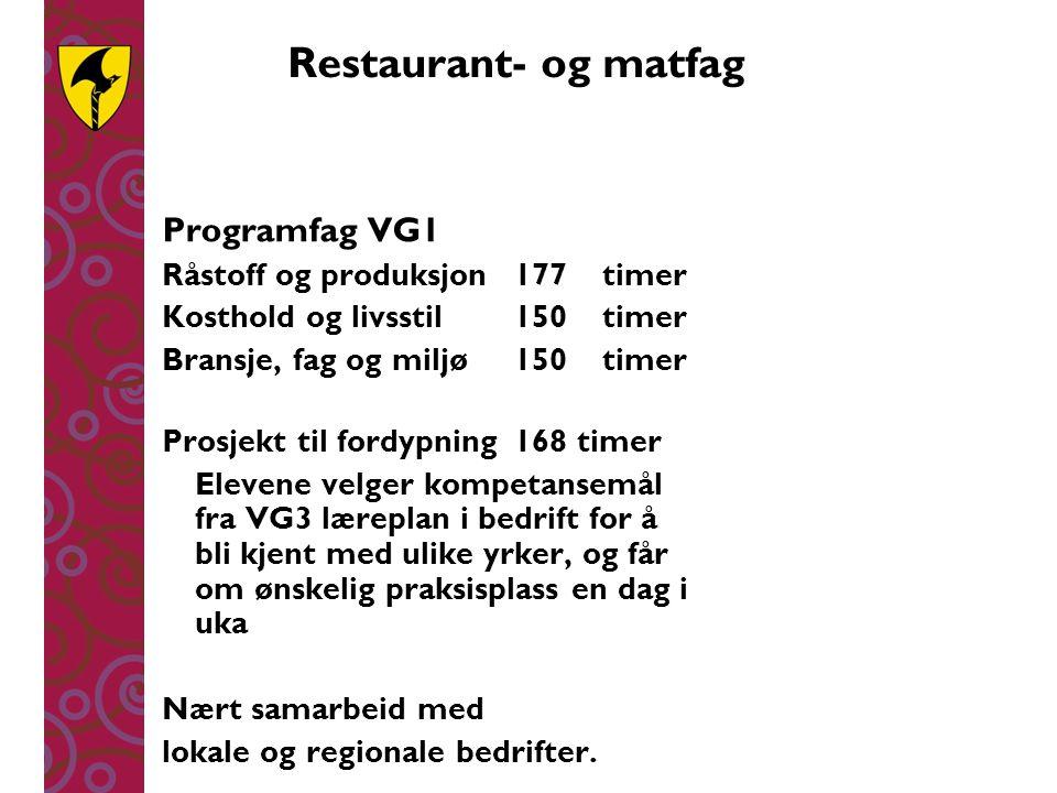 Restaurant- og matfag Programfag VG1 Råstoff og produksjon177timer Kosthold og livsstil150timer Bransje, fag og miljø150timer Prosjekt til fordypning1
