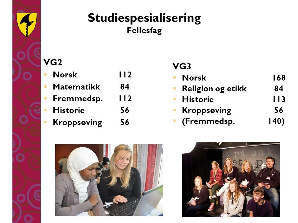 Studiespesialisering Fellesfag VG2  Norsk112  Matematikk 84  Fremmedsp.112  Historie 56  Kroppsøving 56 VG3  Norsk168  Religion og etikk 84  H