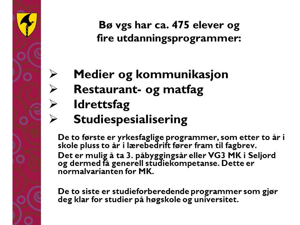 Bø vgs har ca. 475 elever og fire utdanningsprogrammer:  Medier og kommunikasjon  Restaurant- og matfag  Idrettsfag  Studiespesialisering De to fø