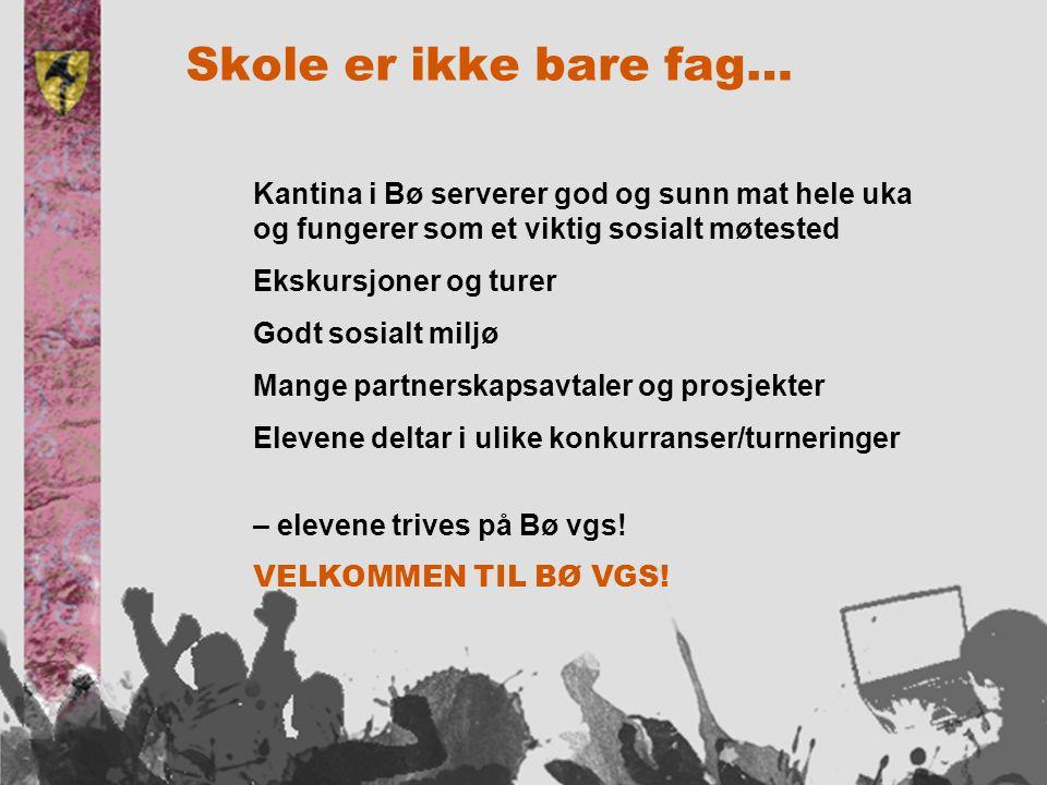 Skole er ikke bare fag… Kantina i Bø serverer god og sunn mat hele uka og fungerer som et viktig sosialt møtested Ekskursjoner og turer Godt sosialt miljø Mange partnerskapsavtaler og prosjekter Elevene deltar i ulike konkurranser/turneringer – elevene trives på Bø vgs.