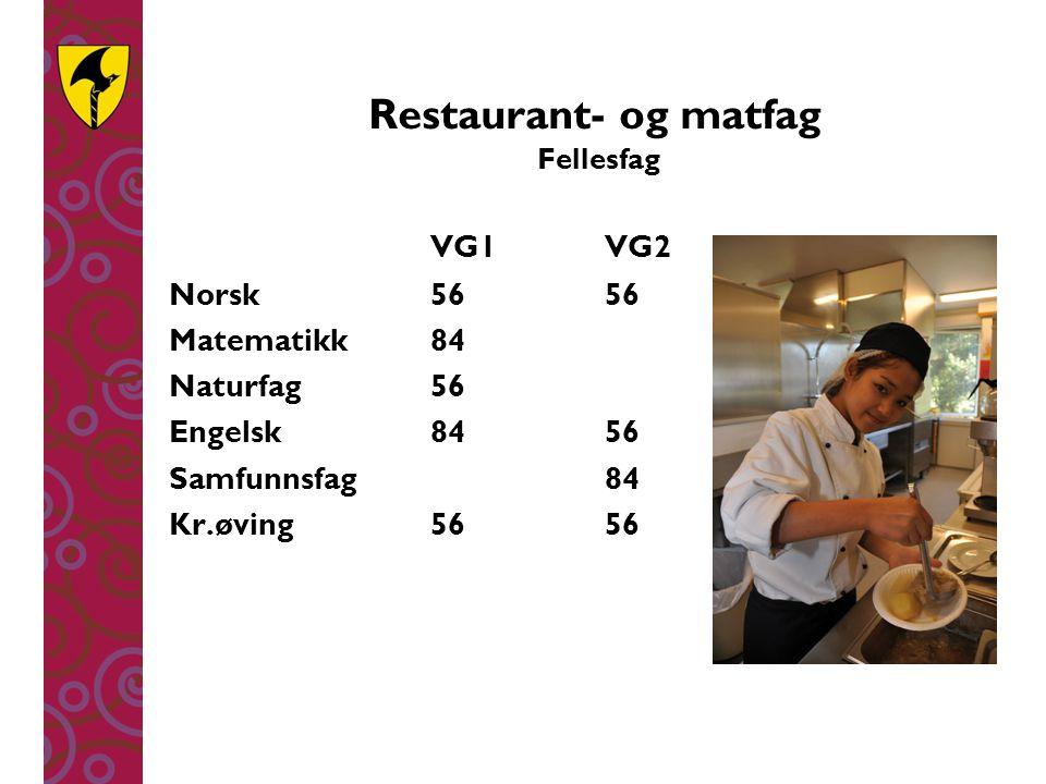 Restaurant- og matfag Fellesfag VG1 VG2 Norsk5656 Matematikk84 Naturfag56 Engelsk8456 Samfunnsfag84 Kr.øving5656