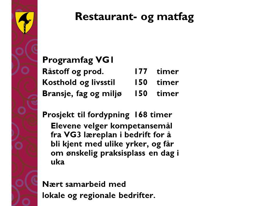 Restaurant- og matfag Programfag VG1 Råstoff og prod.177timer Kosthold og livsstil150timer Bransje, fag og miljø150timer Prosjekt til fordypning168 ti