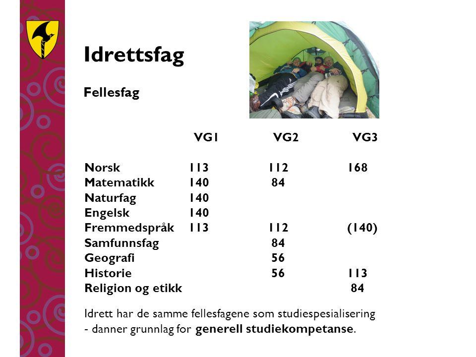 Idrettsfag Fellesfag VG1 VG2 VG3 Norsk113112168 Matematikk140 84 Naturfag140 Engelsk140 Fremmedspråk113112(140) Samfunnsfag 84 Geografi 56 Historie 56