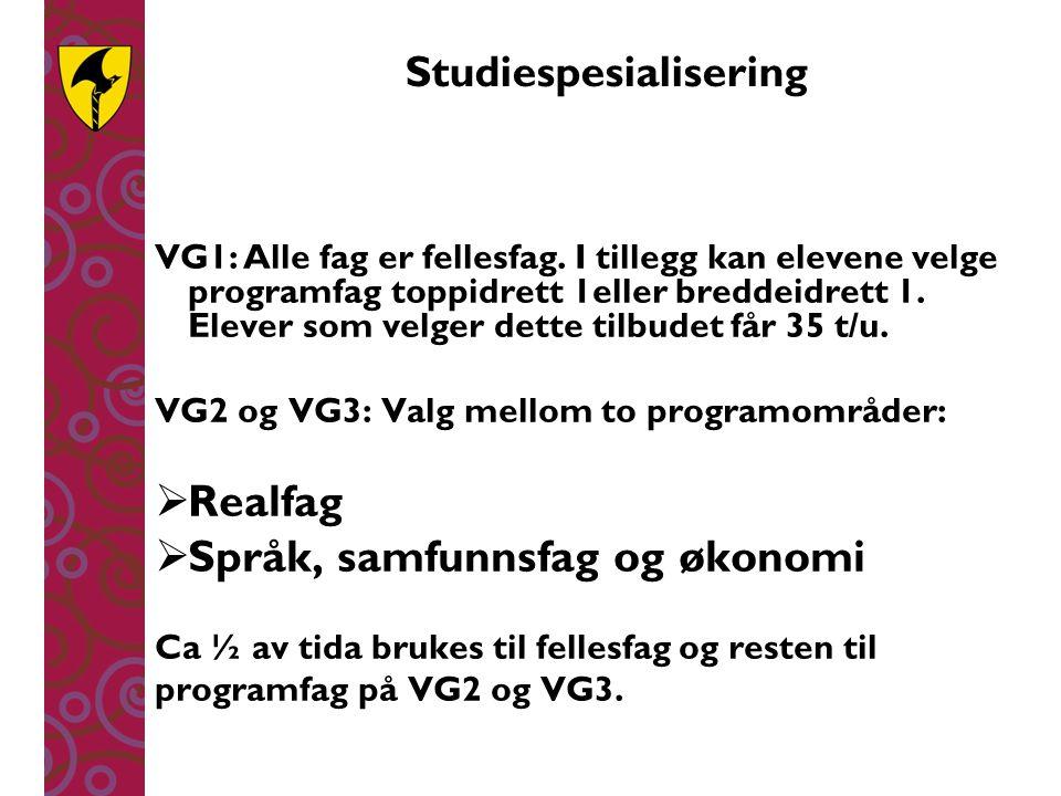 Studiespesialisering VG1:Alle fag er fellesfag. I tillegg kan elevene velge programfag toppidrett 1eller breddeidrett 1. Elever som velger dette tilbu