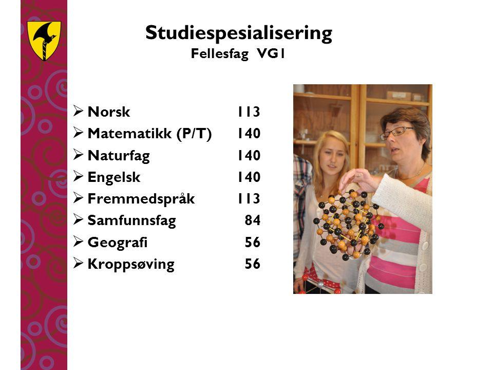Studiespesialisering Fellesfag VG1  Norsk113  Matematikk (P/T)140  Naturfag140  Engelsk140  Fremmedspråk113  Samfunnsfag 84  Geografi 56  Krop