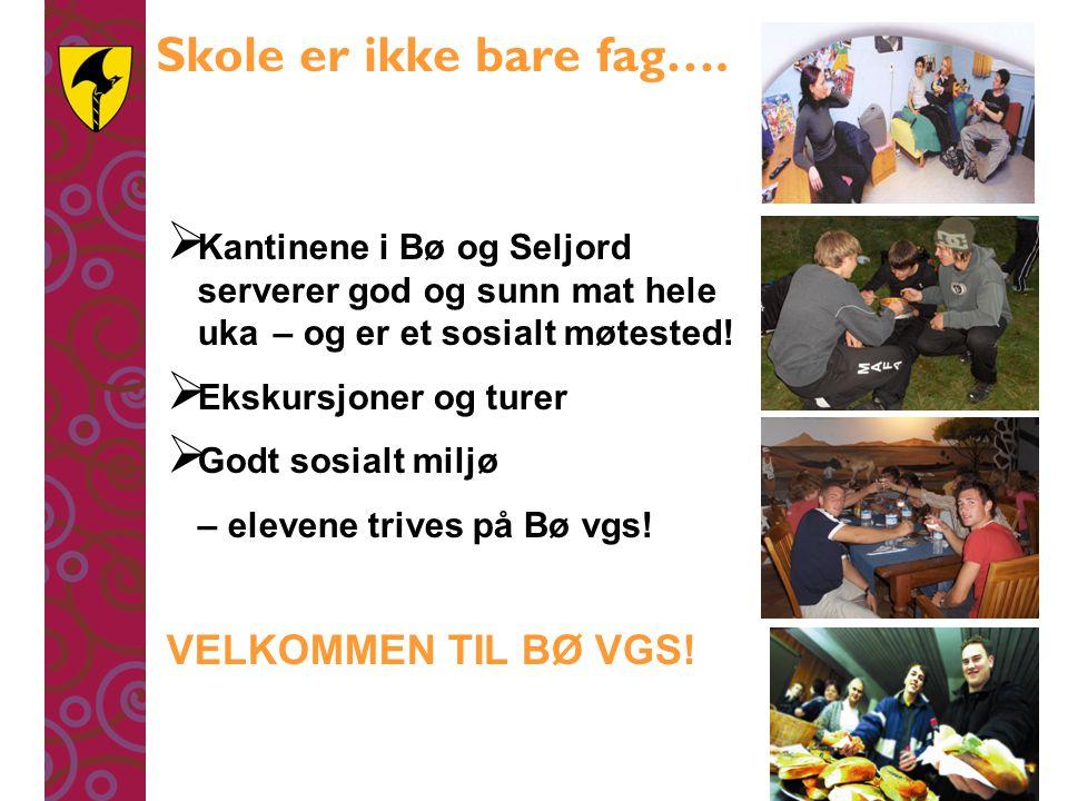 Skole er ikke bare fag….  Kantinene i Bø og Seljord serverer god og sunn mat hele uka – og er et sosialt møtested!  Ekskursjoner og turer  Godt sos