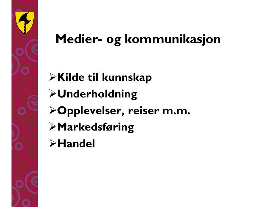 Medier- og kommunikasjon  Kilde til kunnskap  Underholdning  Opplevelser, reiser m.m.  Markedsføring  Handel