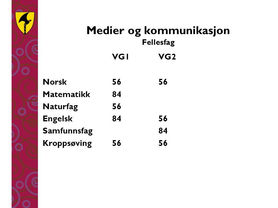 Medier og kommunikasjon Fellesfag VG1 VG2 Norsk5656 Matematikk84 Naturfag56 Engelsk8456 Samfunnsfag84 Kroppsøving5656