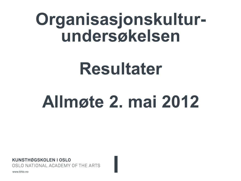 Organisasjonskultur- undersøkelsen Resultater Allmøte 2. mai 2012