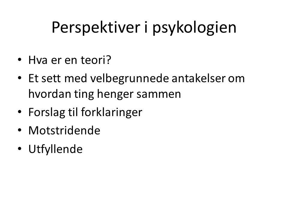 Perspektiver i psykologien Hva er en teori? Et sett med velbegrunnede antakelser om hvordan ting henger sammen Forslag til forklaringer Motstridende U