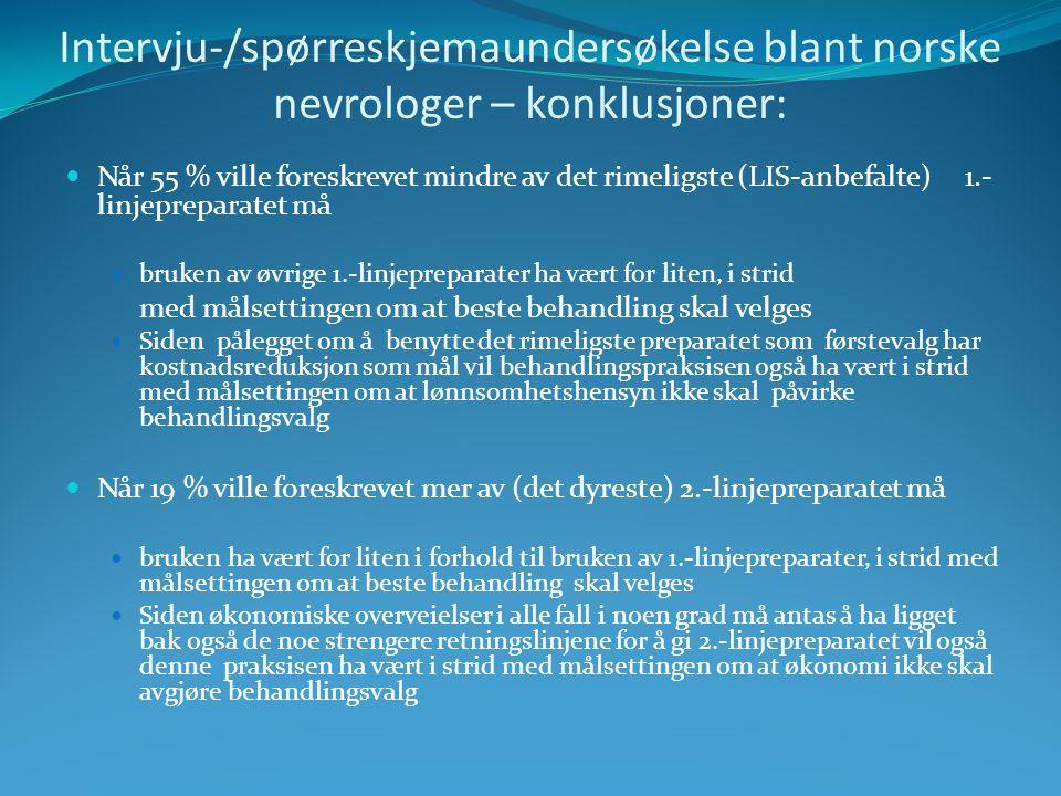 Intervju-/spørreskjemaundersøkelse blant norske nevrologer – konklusjoner: Når 55 % ville foreskrevet mindre av det rimeligste (LIS-anbefalte) 1.- linjepreparatet må bruken av øvrige 1.-linjepreparater ha vært for liten, i strid med målsettingen om at beste behandling skal velges Siden pålegget om å benytte det rimeligste preparatet som førstevalg har kostnadsreduksjon som mål vil behandlingspraksisen også ha vært i strid med målsettingen om at lønnsomhetshensyn ikke skal påvirke behandlingsvalg Når 19 % ville foreskrevet mer av (det dyreste) 2.-linjepreparatet må bruken ha vært for liten i forhold til bruken av 1.-linjepreparater, i strid med målsettingen om at beste behandling skal velges Siden økonomiske overveielser i alle fall i noen grad må antas å ha ligget bak også de noe strengere retningslinjene for å gi 2.-linjepreparatet vil også denne praksisen ha vært i strid med målsettingen om at økonomi ikke skal avgjøre behandlingsvalg