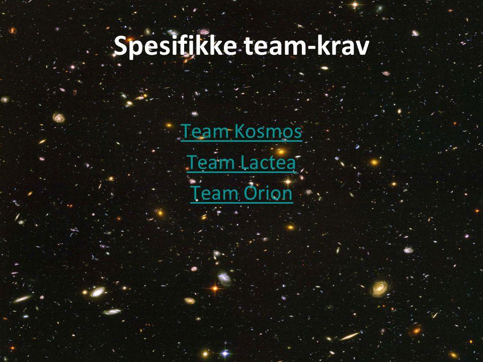 Spesifikke team-krav Team Kosmos Team Lactea Team Orion