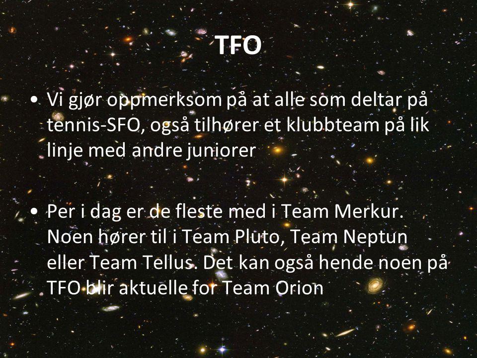 TFO Vi gjør oppmerksom på at alle som deltar på tennis-SFO, også tilhører et klubbteam på lik linje med andre juniorer Per i dag er de fleste med i Team Merkur.