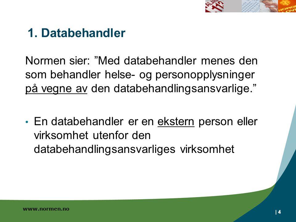 www.normen.no Oppsummering Kontrakt 1 - Tjenesteutsetting Ved tjenesteutsetting av en tjeneste Utlevering av helseopplysninger må avtales Evt.