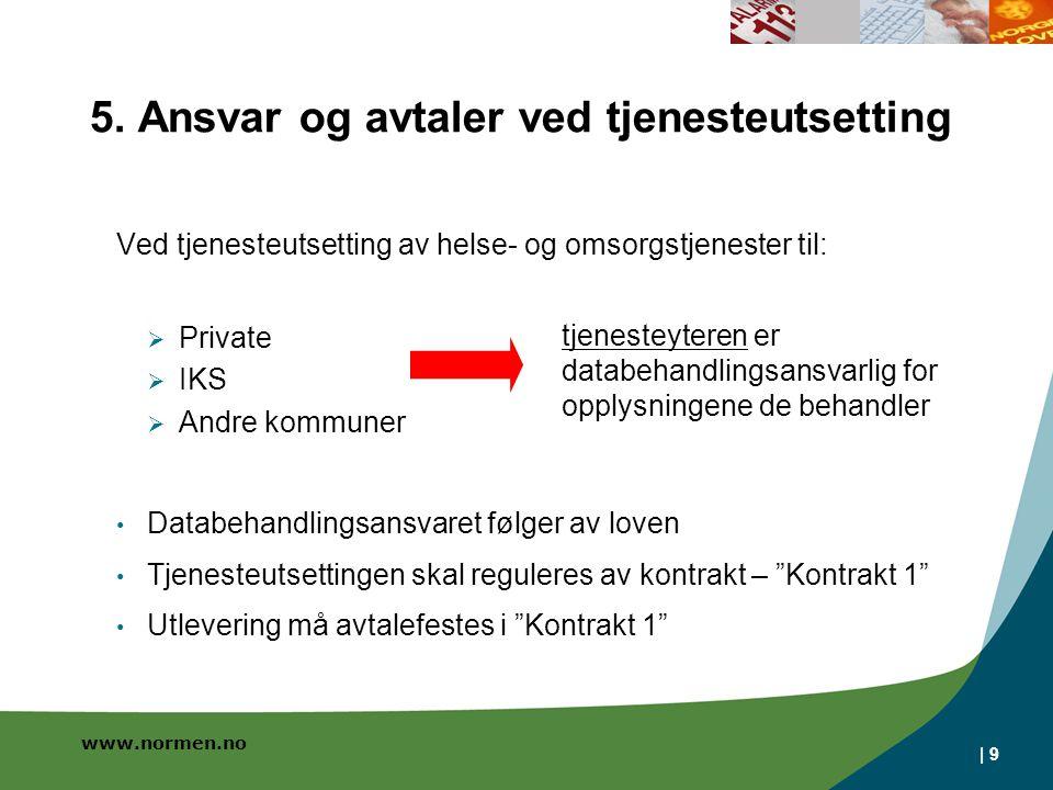 www.normen.no Utlevering må avtalefestets i Kontrakt 1 fordi: Når kommunen er databehandler, kan kommunen ikke hente / bruke data som finnes i IT-systemet (helseregisterloven § 13) Ved behov for data, f.eks.