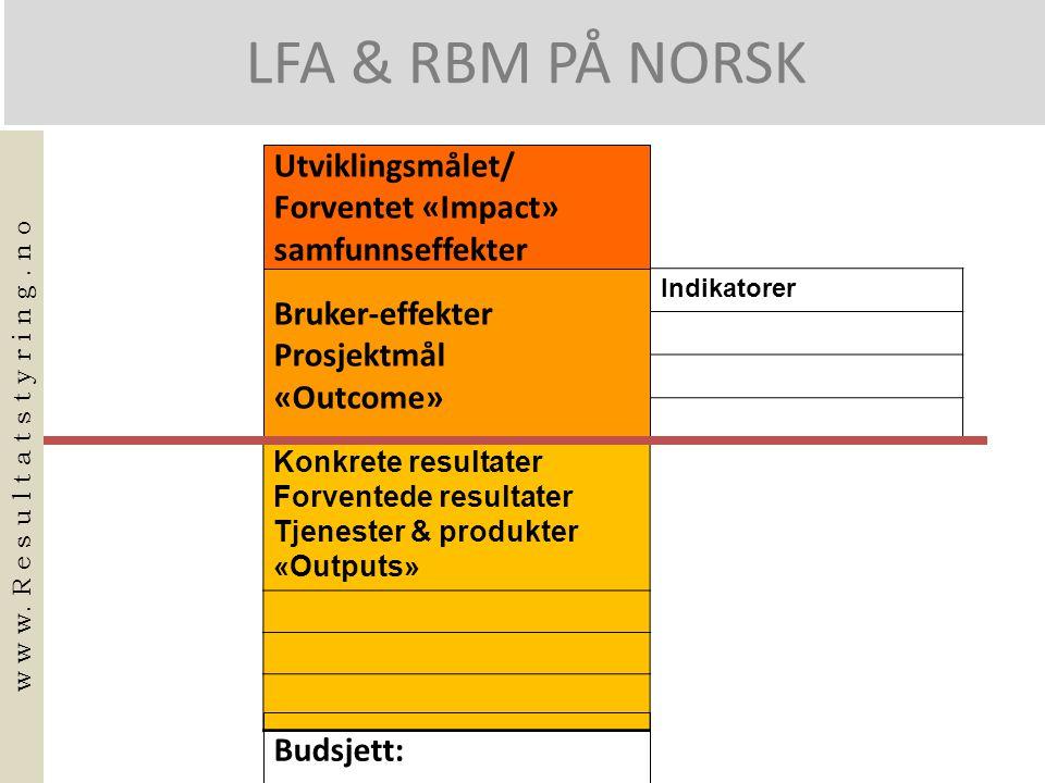 LFA & RBM PÅ NORSK Konkrete resultater Forventede resultater Tjenester & produkter «Outputs» Indikatorer Utviklingsmålet/ Forventet «Impact» samfunnseffekter Bruker-effekter Prosjektmål «Outcome» Budsjett: w w w.