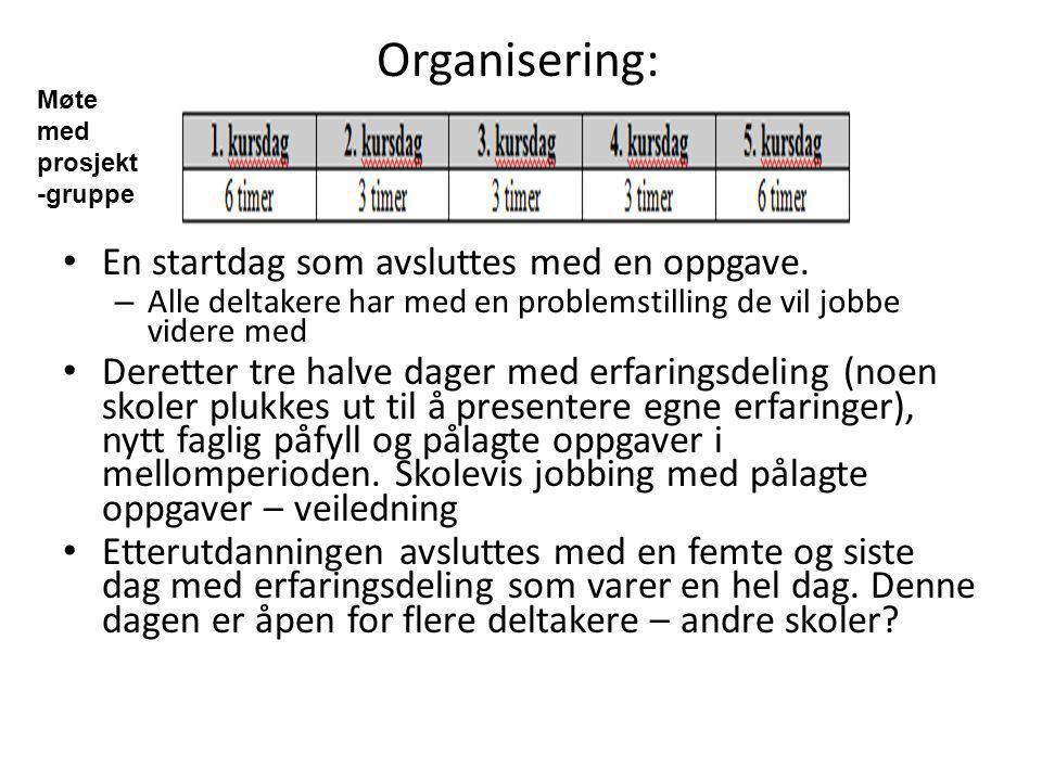 Organisering: En startdag som avsluttes med en oppgave.