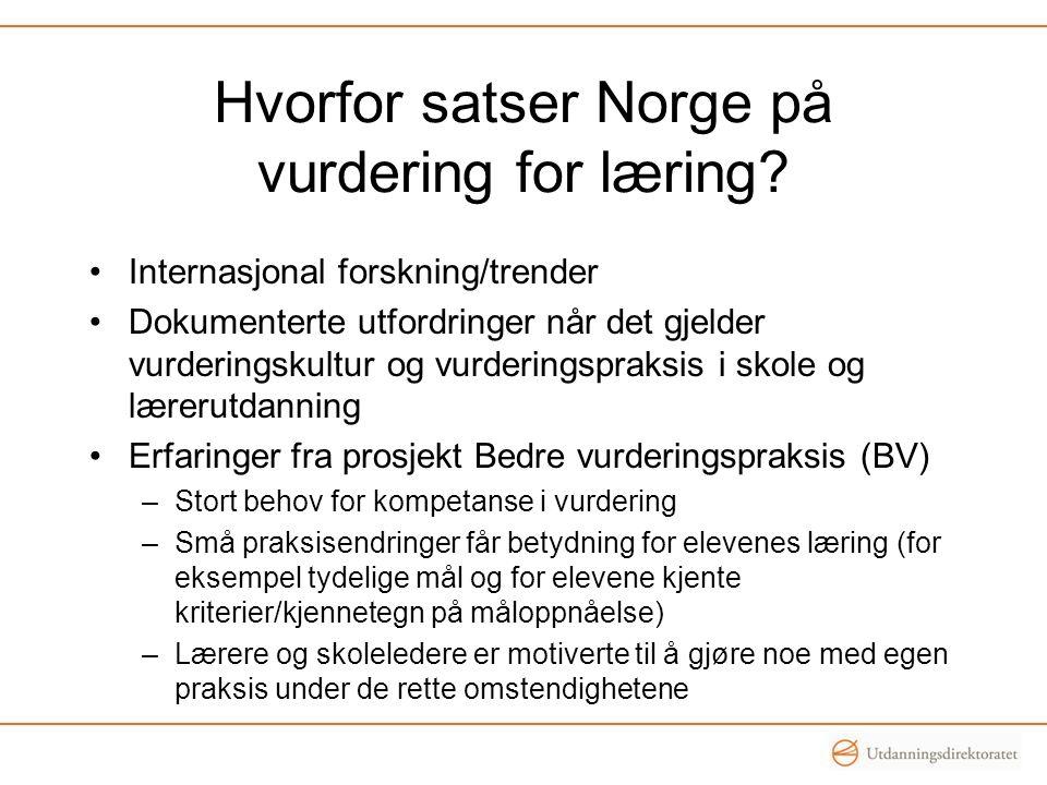 Hvorfor satser Norge på vurdering for læring.