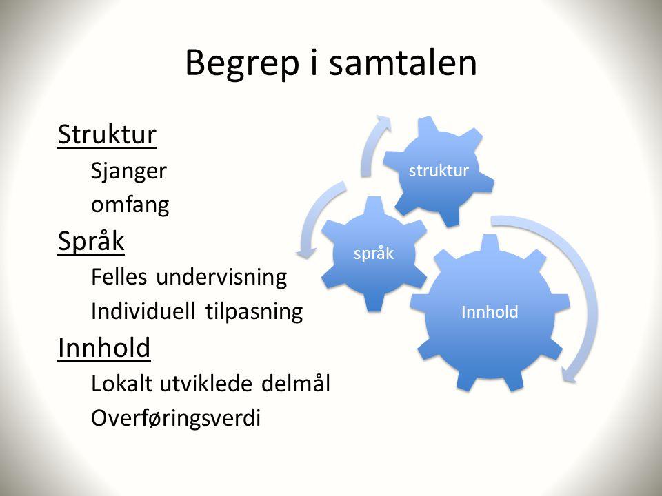 Begrep i samtalen Struktur Sjanger omfang Språk Felles undervisning Individuell tilpasning Innhold Lokalt utviklede delmål Overføringsverdi Innhold språk struktur
