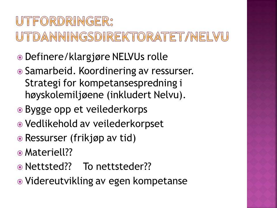  Definere/klargjøre NELVUs rolle  Samarbeid. Koordinering av ressurser.