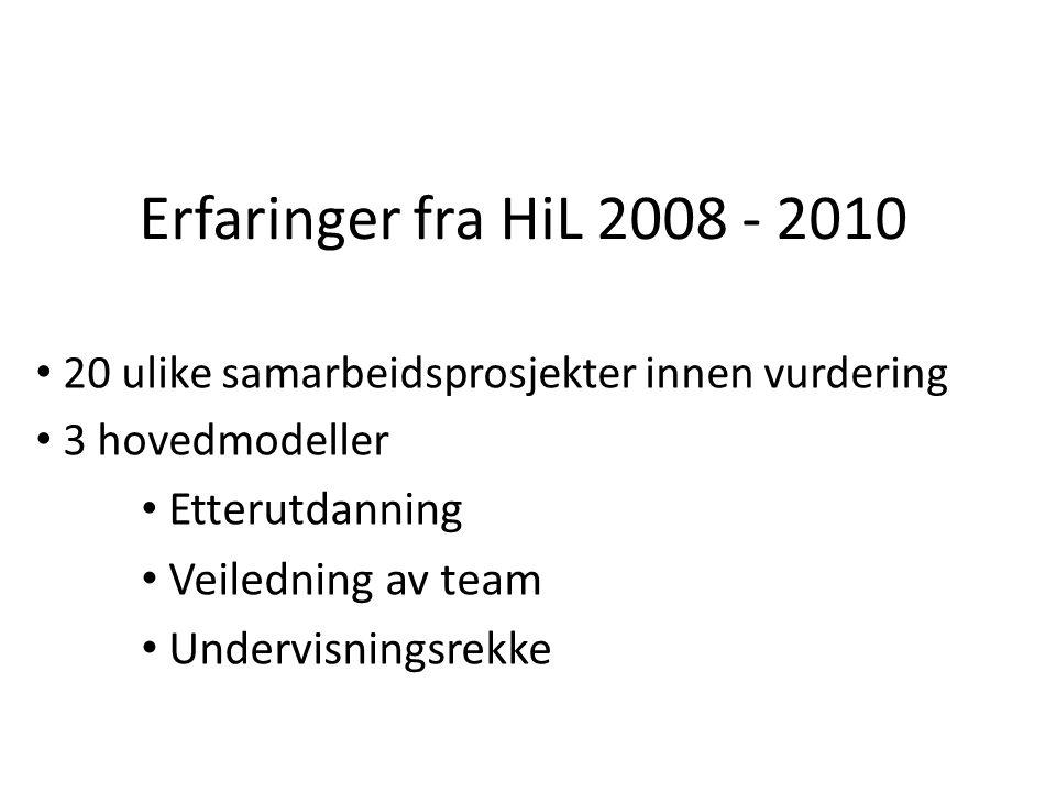 Erfaringer fra HiL 2008 - 2010 20 ulike samarbeidsprosjekter innen vurdering 3 hovedmodeller Etterutdanning Veiledning av team Undervisningsrekke