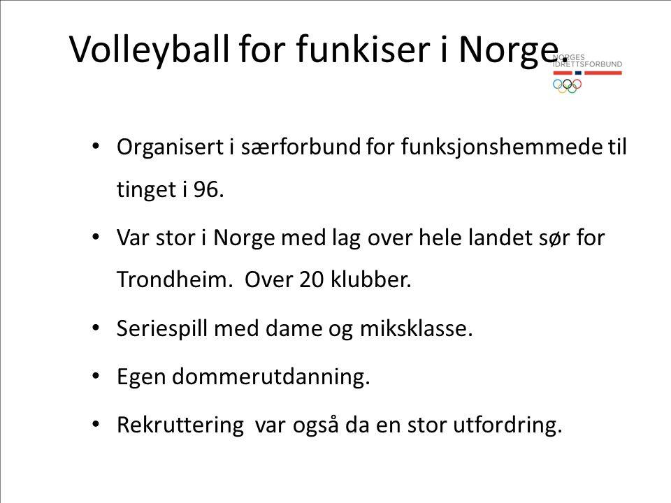 Volleyball for funkiser i Norge. Organisert i særforbund for funksjonshemmede til tinget i 96.