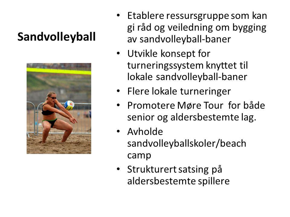Sandvolleyball Etablere ressursgruppe som kan gi råd og veiledning om bygging av sandvolleyball-baner Utvikle konsept for turneringssystem knyttet til lokale sandvolleyball-baner Flere lokale turneringer Promotere Møre Tour for både senior og aldersbestemte lag.