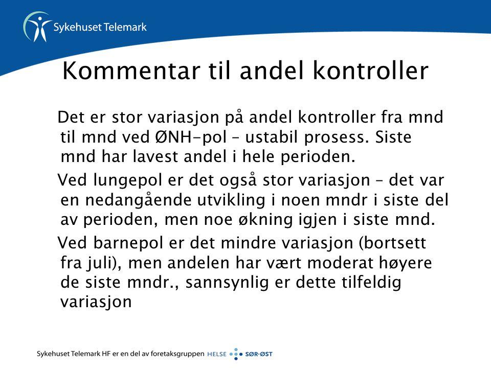 Kommentar til andel kontroller Det er stor variasjon på andel kontroller fra mnd til mnd ved ØNH-pol – ustabil prosess.