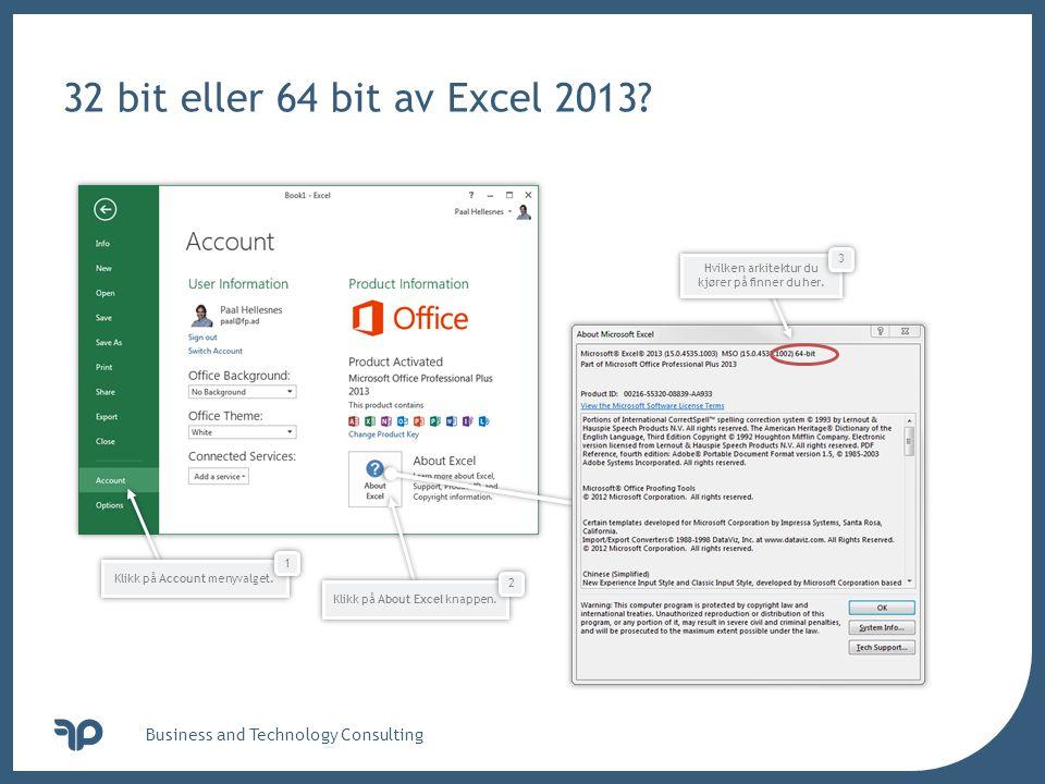 v 32 bit eller 64 bit av Excel 2013.