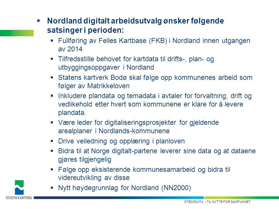 - TIL NYTTE FOR SAMFUNNETSTEDSDATA  Nordland digitalt arbeidsutvalg ønsker følgende satsinger i perioden:  Fullføring av Felles Kartbase (FKB) i Nor