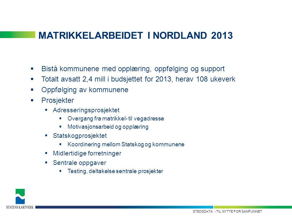 - TIL NYTTE FOR SAMFUNNETSTEDSDATA MATRIKKELARBEIDET I NORDLAND 2013  Bistå kommunene med opplæring, oppfølging og support  Totalt avsatt 2,4 mill i