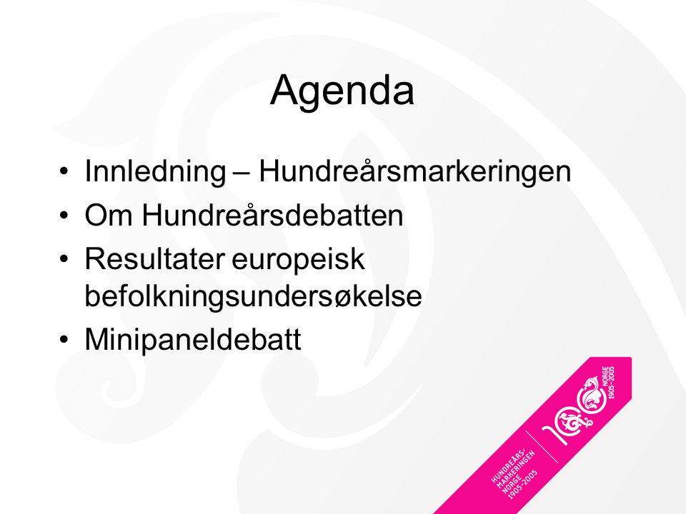 Agenda Innledning – Hundreårsmarkeringen Om Hundreårsdebatten Resultater europeisk befolkningsundersøkelse Minipaneldebatt