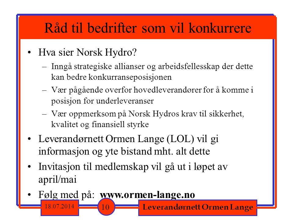 Hva sier Norsk Hydro? –Inngå strategiske allianser og arbeidsfellesskap der dette kan bedre konkurranseposisjonen –Vær pågående overfor hovedleverandø