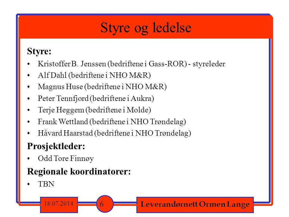 Styre: Kristoffer B. Jenssen (bedriftene i Gass-ROR) - styreleder Alf Dahl (bedriftene i NHO M&R) Magnus Huse (bedriftene i NHO M&R) Peter Tennfjord (
