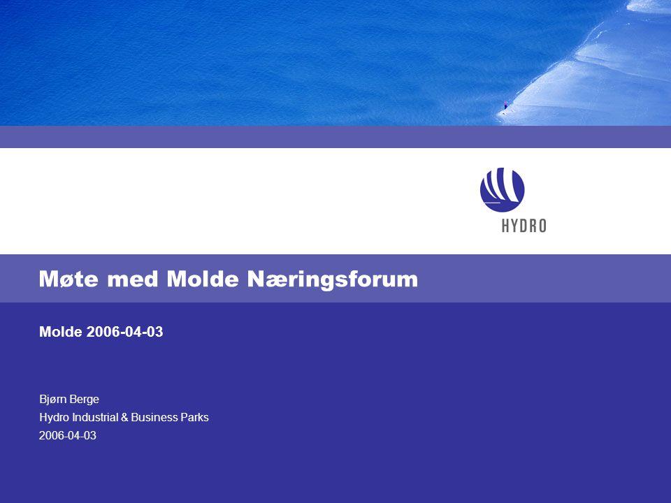 Bjørn Berge Hydro Industrial & Business Parks 2006-04-03 Molde 2006-04-03 Møte med Molde Næringsforum