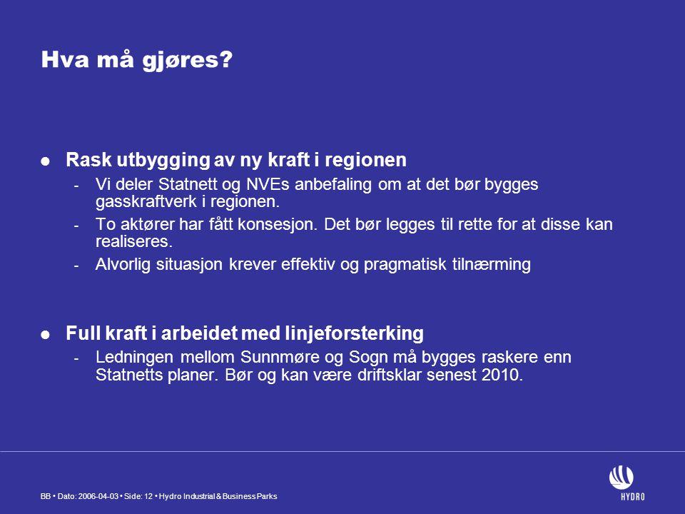 BB Dato: 2006-04-03 Side: 12 Hydro Industrial & Business Parks Hva må gjøres.