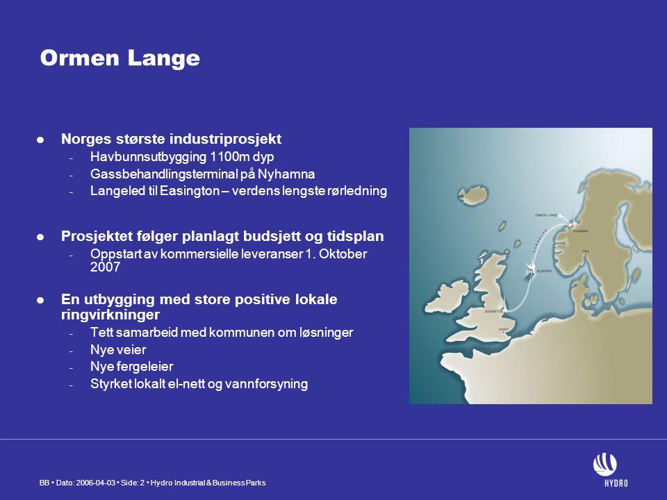 BB Dato: 2006-04-03 Side: 2 Hydro Industrial & Business Parks Ormen Lange Norges største industriprosjekt - Havbunnsutbygging 1100m dyp - Gassbehandlingsterminal på Nyhamna - Langeled til Easington – verdens lengste rørledning Prosjektet følger planlagt budsjett og tidsplan - Oppstart av kommersielle leveranser 1.