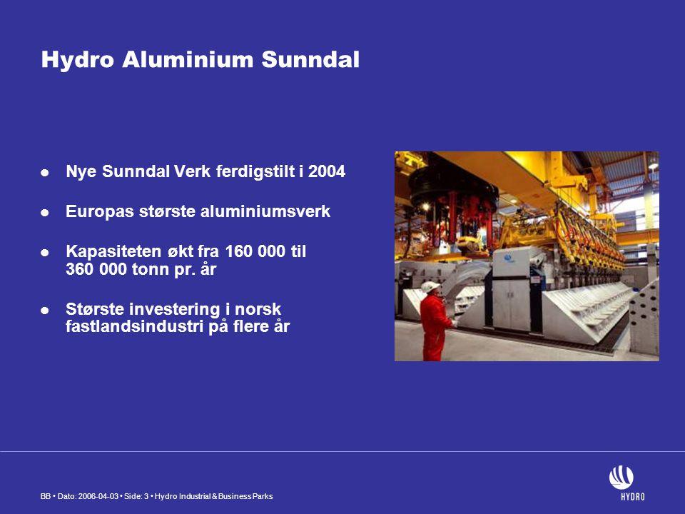 BB Dato: 2006-04-03 Side: 3 Hydro Industrial & Business Parks Hydro Aluminium Sunndal Nye Sunndal Verk ferdigstilt i 2004 Europas største aluminiumsverk Kapasiteten økt fra 160 000 til 360 000 tonn pr.