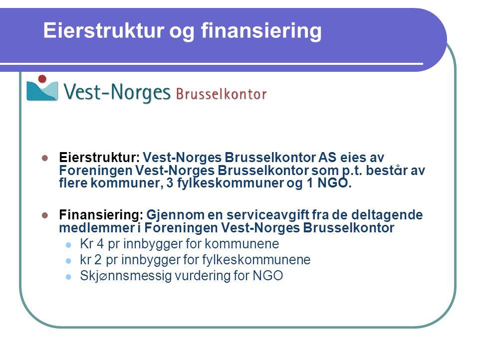 Eierstruktur og finansiering Eierstruktur: Vest-Norges Brusselkontor AS eies av Foreningen Vest-Norges Brusselkontor som p.t.