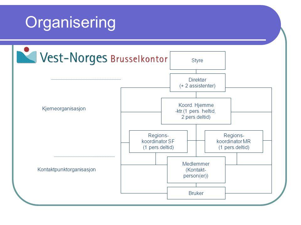 Organisering Regions- koordinator MR (1 pers.deltid) Direktør (+ 2 assistenter) Koord.