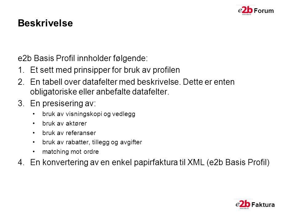 Faktura Forum Beskrivelse e2b Basis Profil innholder følgende: 1.Et sett med prinsipper for bruk av profilen 2.En tabell over datafelter med beskrivelse.