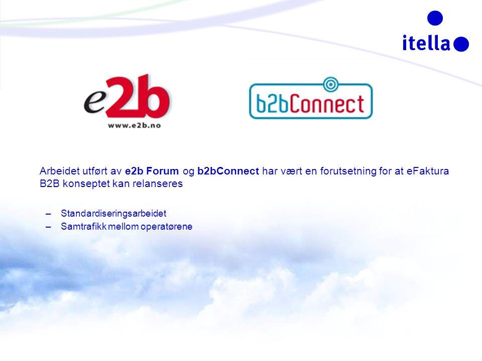 Arbeidet utført av e2b Forum og b2bConnect har vært en forutsetning for at eFaktura B2B konseptet kan relanseres –Standardiseringsarbeidet –Samtrafikk mellom operatørene