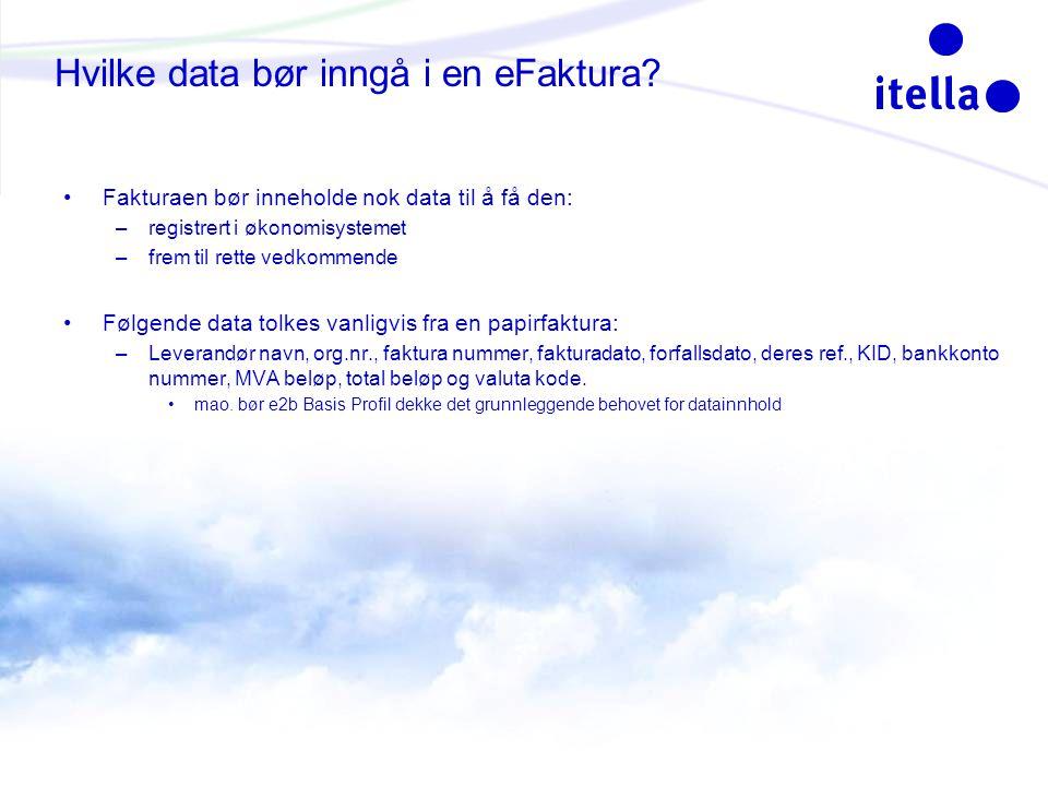 Hvilke data bør inngå i en eFaktura.