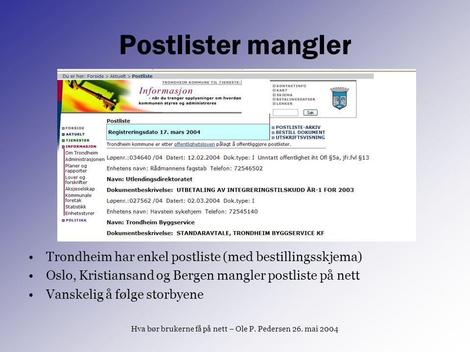 Postlister mangler Trondheim har enkel postliste (med bestillingsskjema) Oslo, Kristiansand og Bergen mangler postliste på nett Vanskelig å følge stor