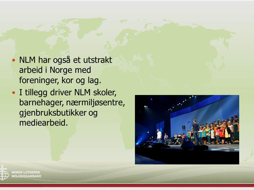 NLM har også et utstrakt arbeid i Norge med foreninger, kor og lag. I tillegg driver NLM skoler, barnehager, nærmiljøsentre, gjenbruksbutikker og medi